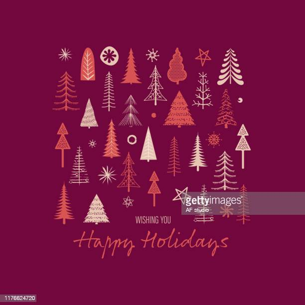 set of christmas trees. seamless background. hand drawn elements - af-studio stock illustrations