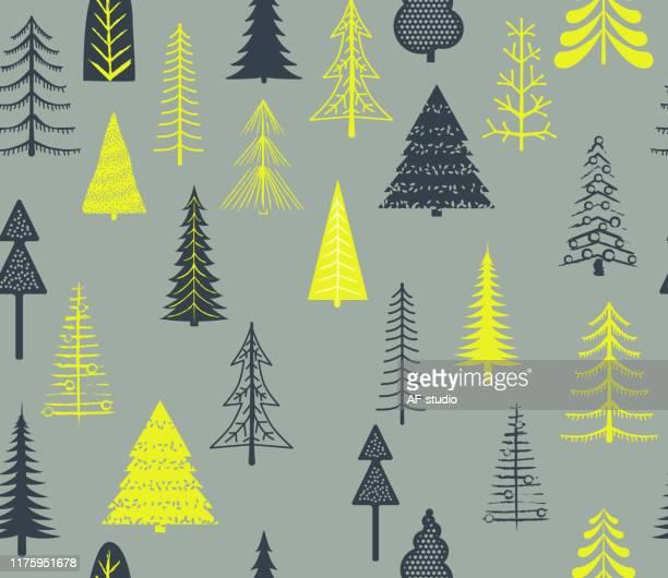ilustrações de stock, clip art, desenhos animados e ícones de set of christmas trees - seamless pattern - estrelas de natal