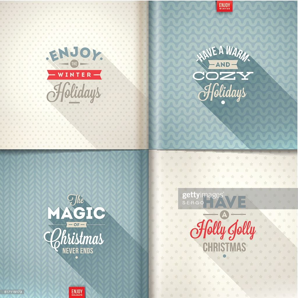 Set of Christmas type design with long shadow