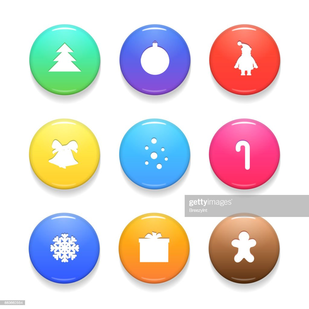 Set of Christmas Vector Badges Isolated on White Background