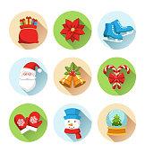 Set of Christmas Winter Circle Icons Isolated on White