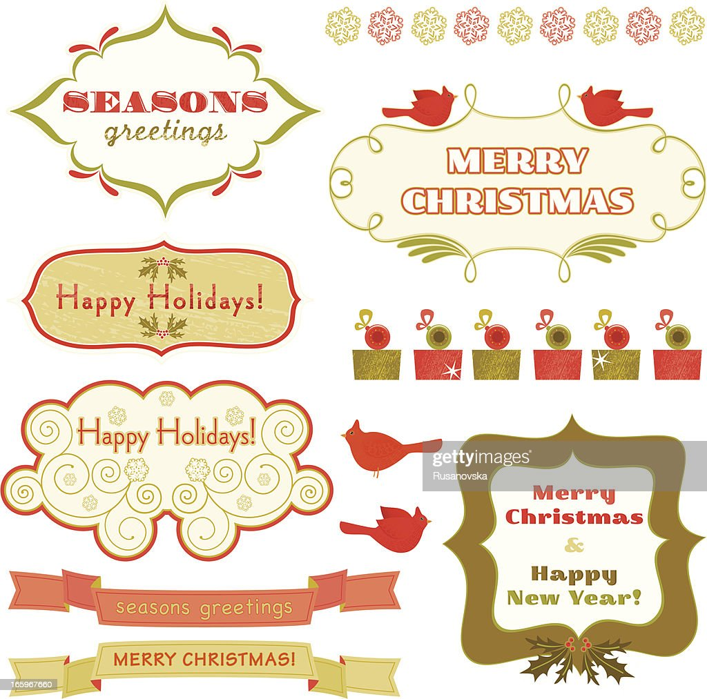 Set Of Christmas Wishes And Holiday Frames Vector Art | Getty Images
