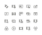 Set of Cinema Line Icons