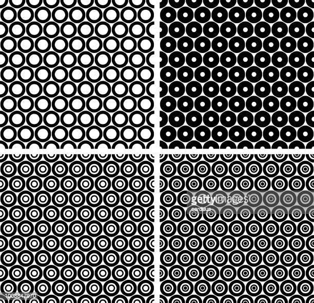 set of   circle  black and white   seamless  patterns