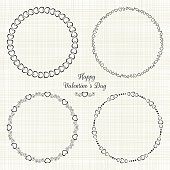 Set of circle cute frames for the St. Valentines Day