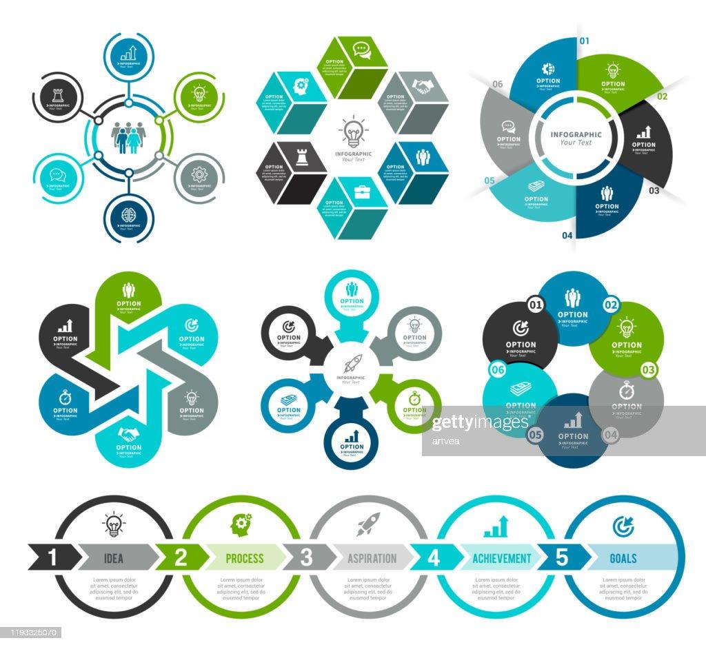Set of Circle Infographic Elements : Stock Illustration