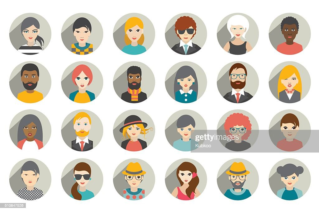 Set of circle persons, avatars, people heads  different nationality