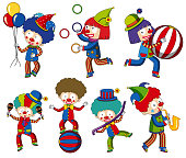 A set of circus clown