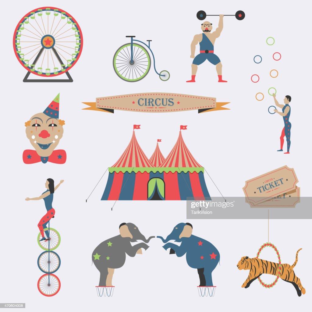 Set of Circus Flat Icons.
