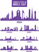 Set of Cities in Middle East Famous Buildings