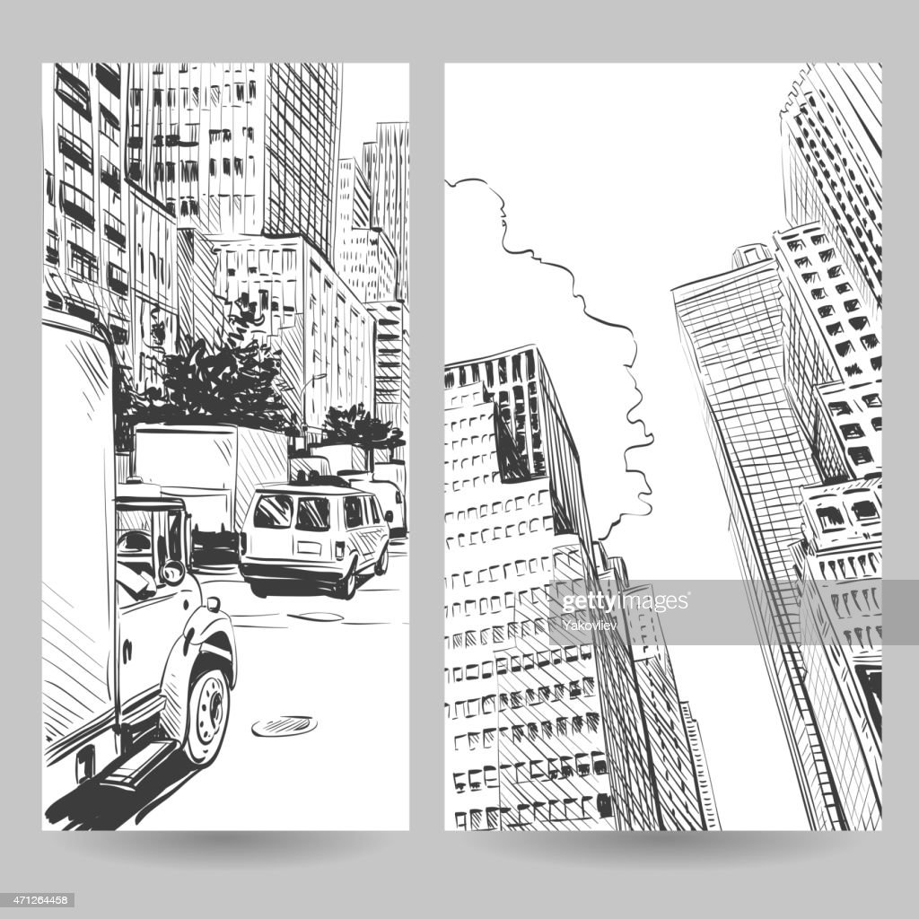 Set of city banner design elements, vector illustration