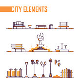 Set of city elements - modern line design style objects