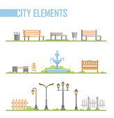 Set of city park elements - modern vector cartoon isolated illustration