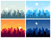 Set of city skyline vector illustration in flat style.
