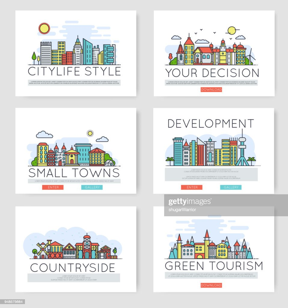 Set of city skylines and suburban different buildings in skyline.  Thin line vector illustration design concept