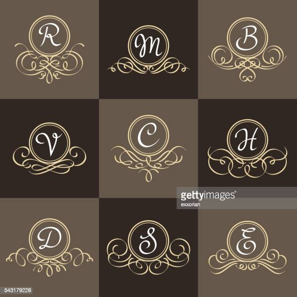 set of classic elegant frames - letter d stock illustrations, clip art, cartoons, & icons