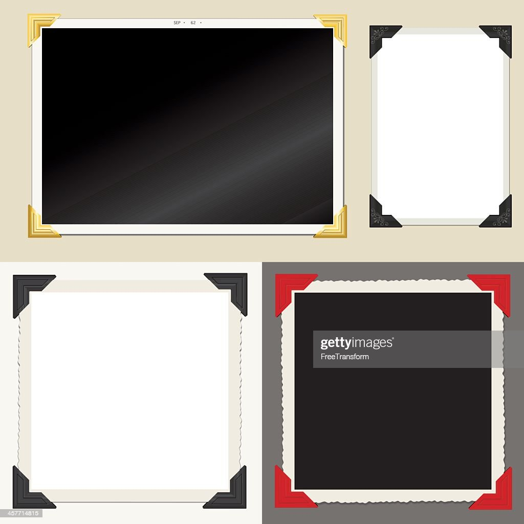 Set of classic empty photo frames