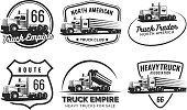 Set of classic heavy truck emblems and badges.
