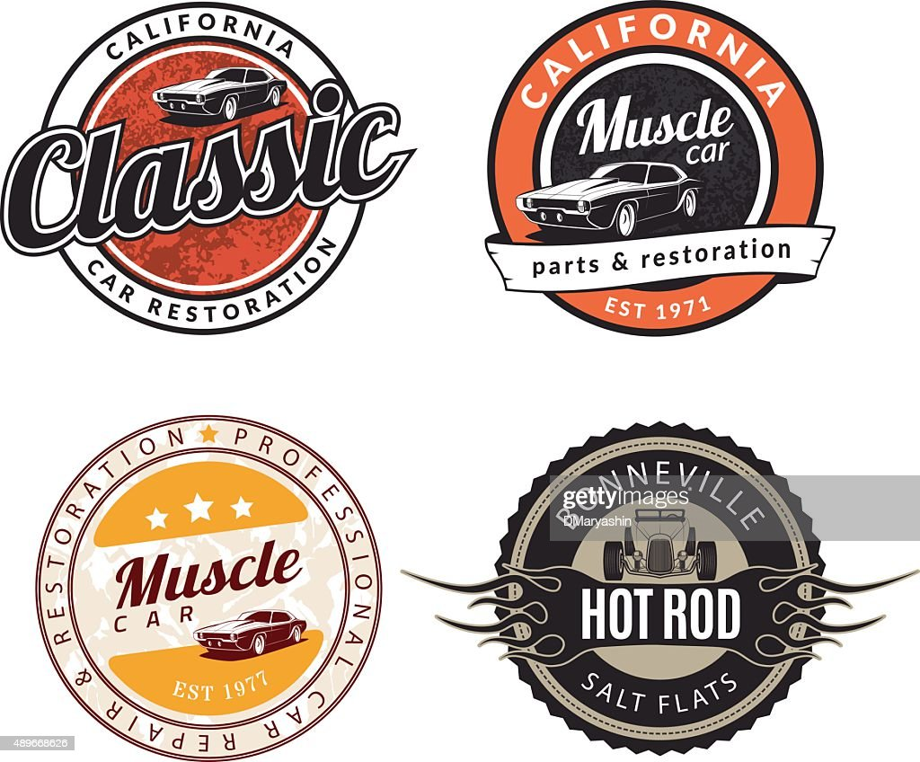 Set of classic muscle car emblems, badges and signs.