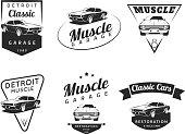 Set of classic muscle car emblems