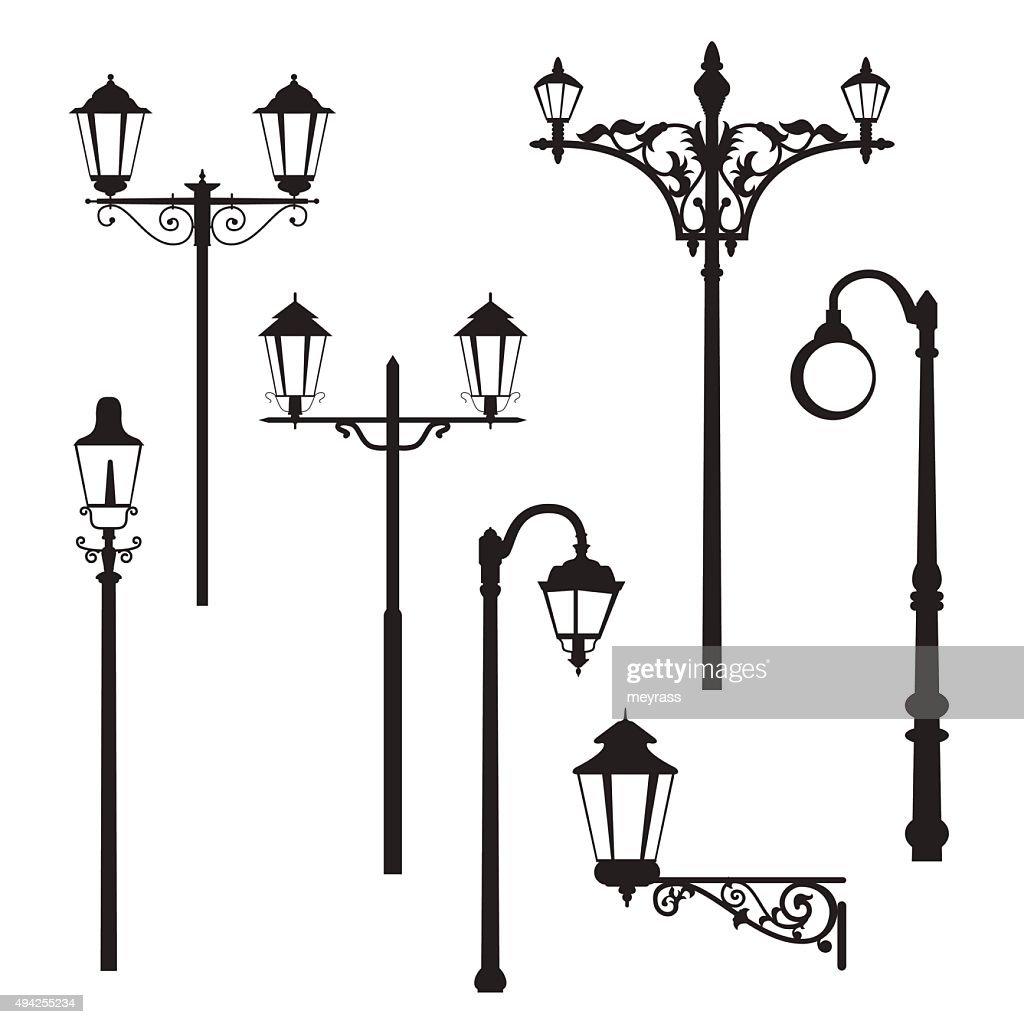 Set of classic road lantern silhouettes