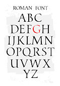 Set of classic roman font. Vector. Capital letters. Uneven ancient font. Letters symbols for the design of a poster, flyer or presentation. Signs for the symbol All letters are separate.