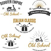 Set of classic scooter emblems.