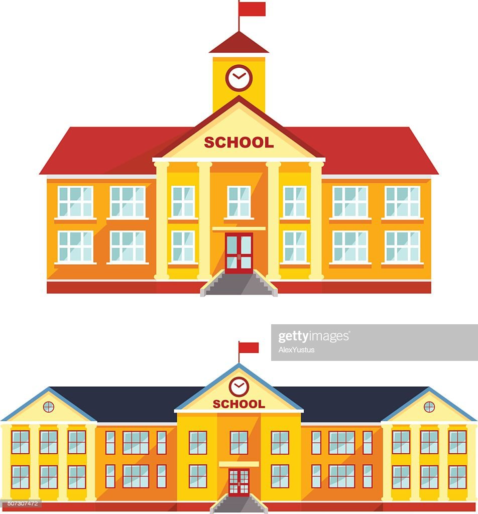 Set of classical school building isolated on white background.
