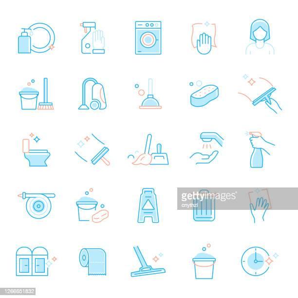 クリーニング関連のフラットラインアイコンのセット。シンプル アウトライン シンボル アイコン。 - 主婦業点のイラスト素材/クリップアート素材/マンガ素材/アイコン素材