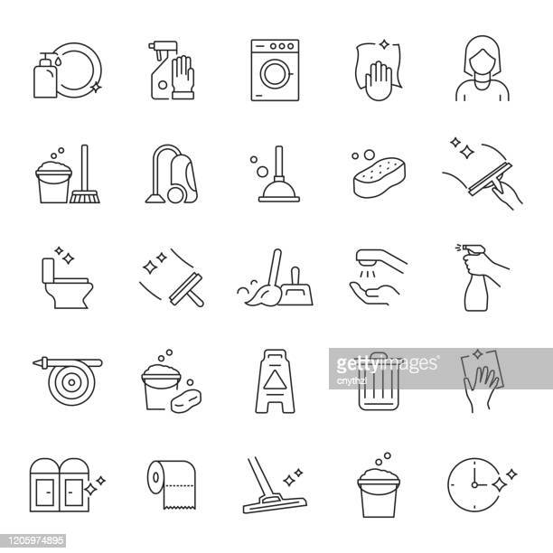 set of cleaning related line icons. editable stroke. simple outline icons. - clean stock illustrations