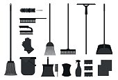 Set of cleaning utensils icons .