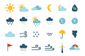 Set of climate forecast weather icons vector