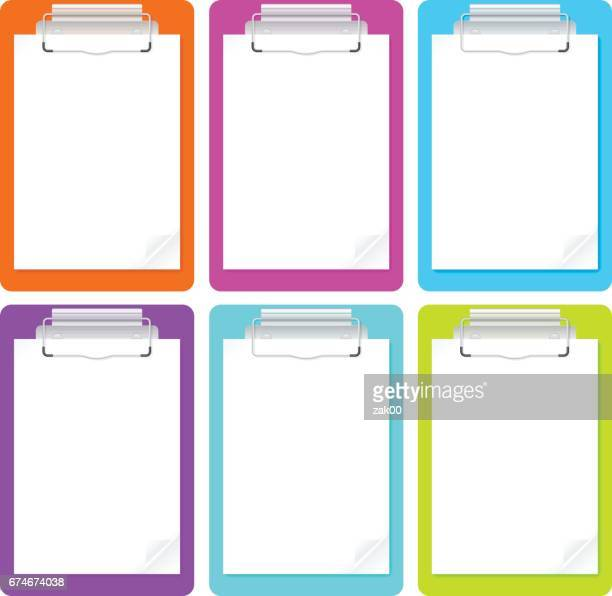 Set of clipboards with blank white paper.