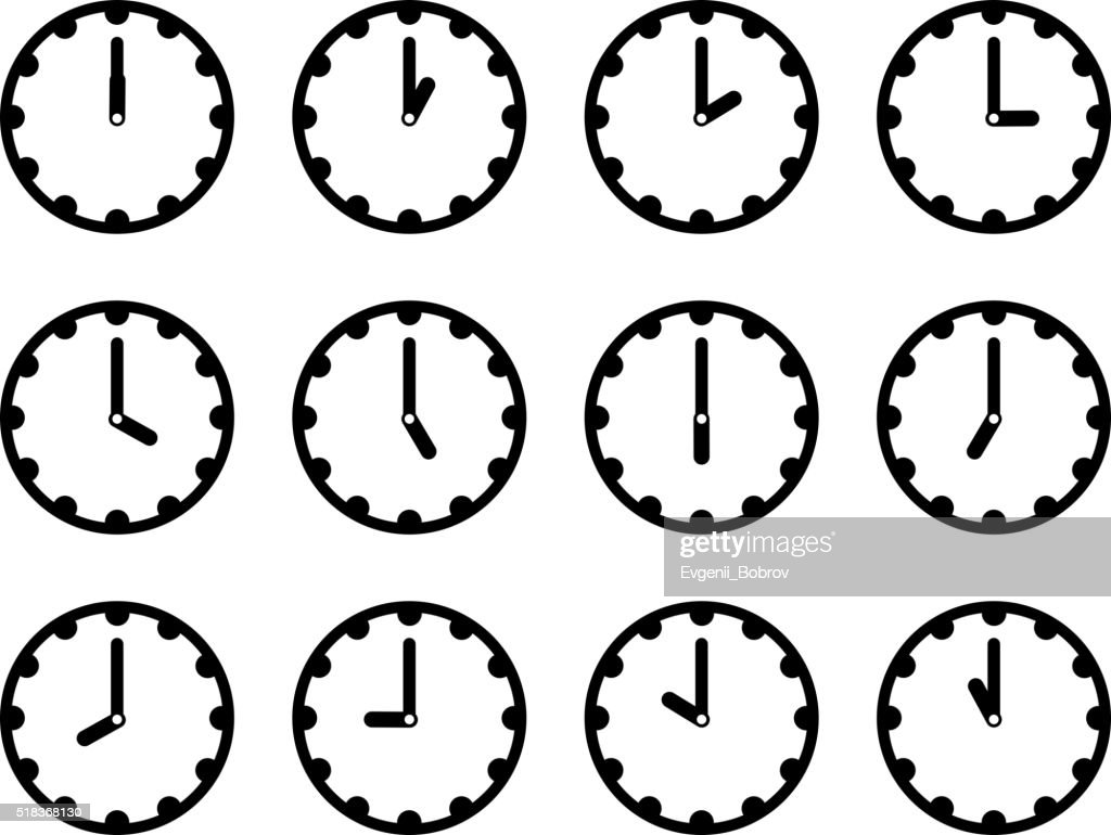 Set of clock faces simple black icons