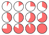 Set of clock icons showing different time. Red segments. Vector illustration