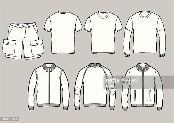 set of clothes outlines - t shirt stock illustrations, clip art, cartoons, & icons