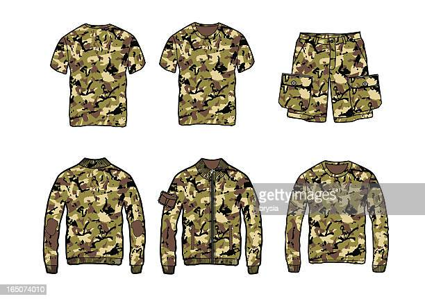 set of clothes with camo pattern - conversion sport stock illustrations