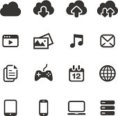 A set of cloud computing related basic icons