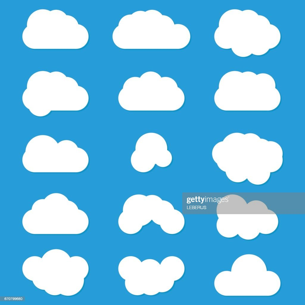 Set Of Clouds Vector Icons White Color On Blue Background Cloudscape