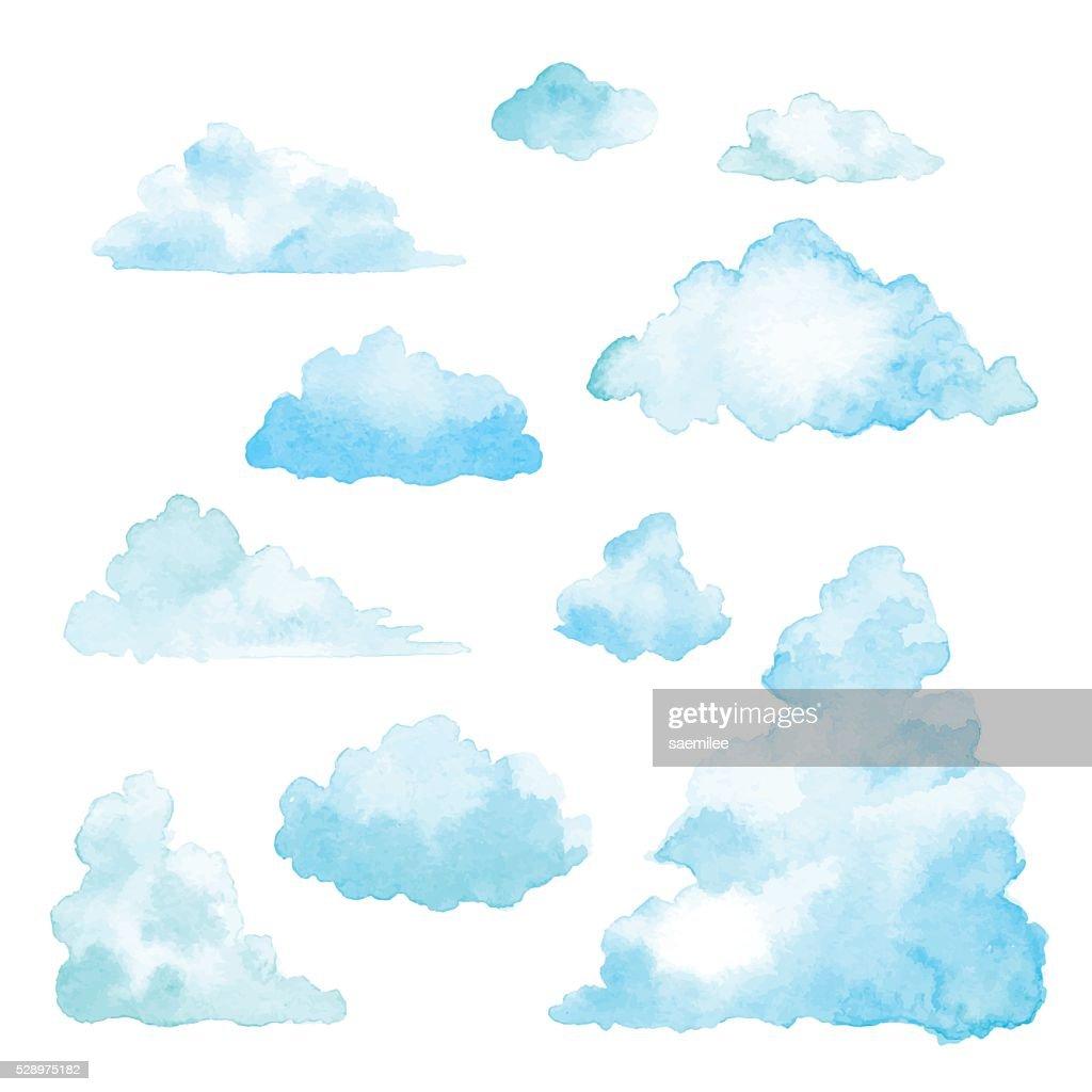 Ein Satz von Wolken Aquarell : Stock-Illustration