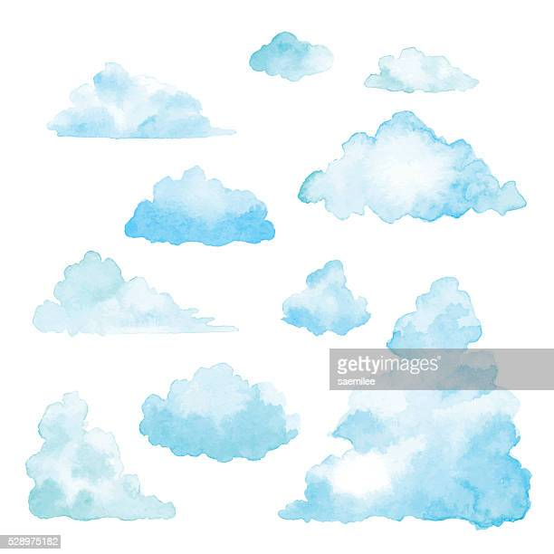 set of clouds watercolor - cloudscape stock illustrations, clip art, cartoons, & icons