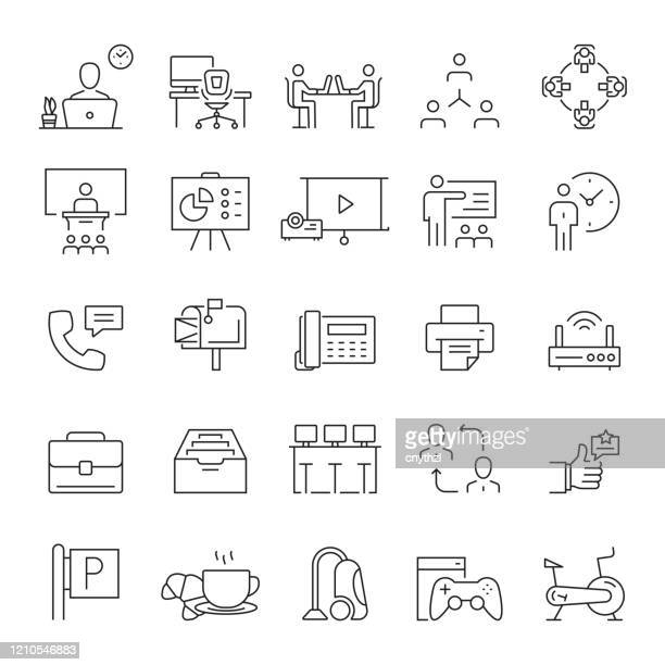 set of co working space related line icons. editable stroke. simple outline symbol. - copy space stock illustrations