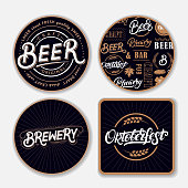 Set of coasters for beer with hand written lettering words