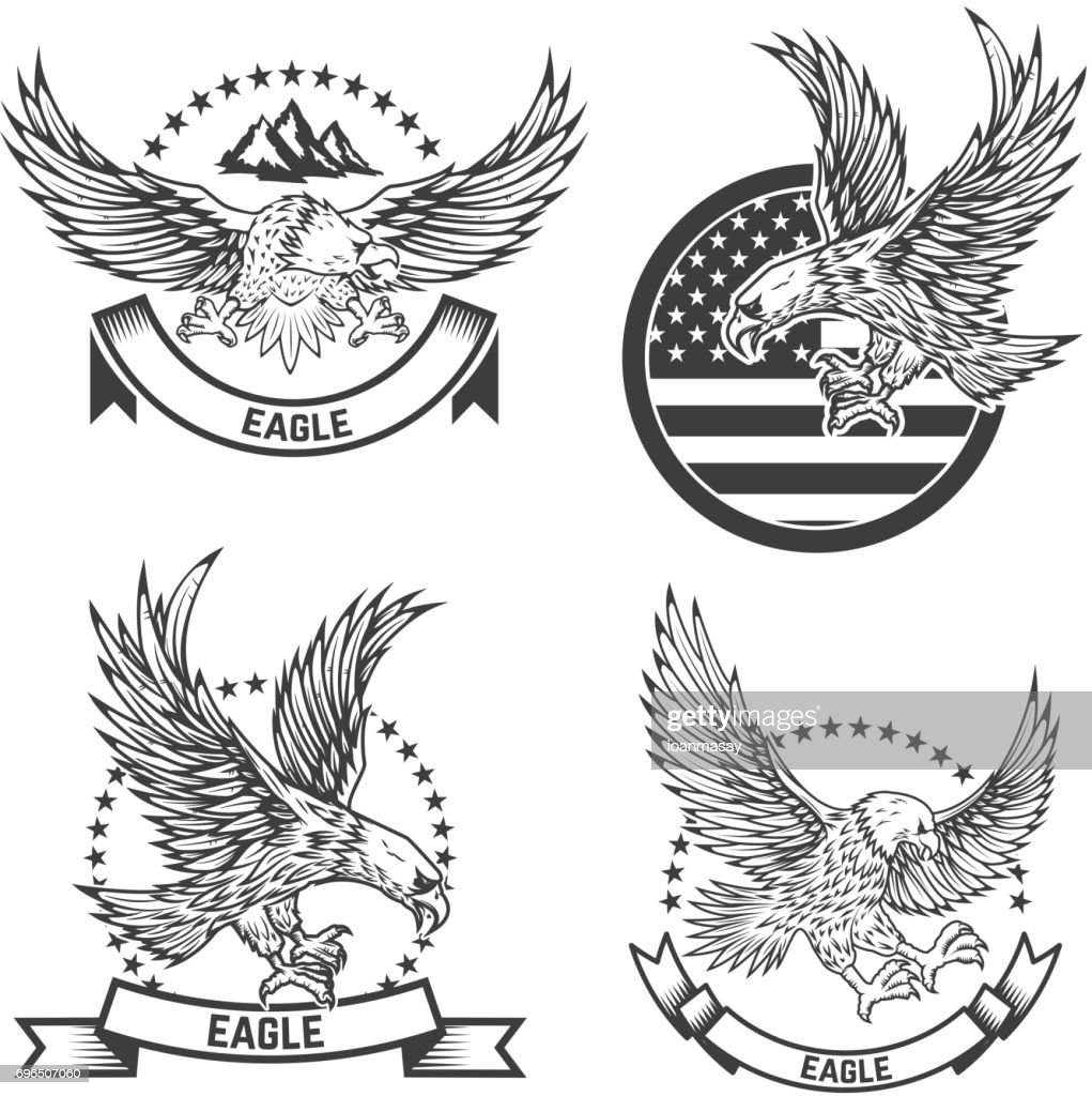 Set of coat of arms with eagles. Design elements for label, emblem, sign. Vector illustration