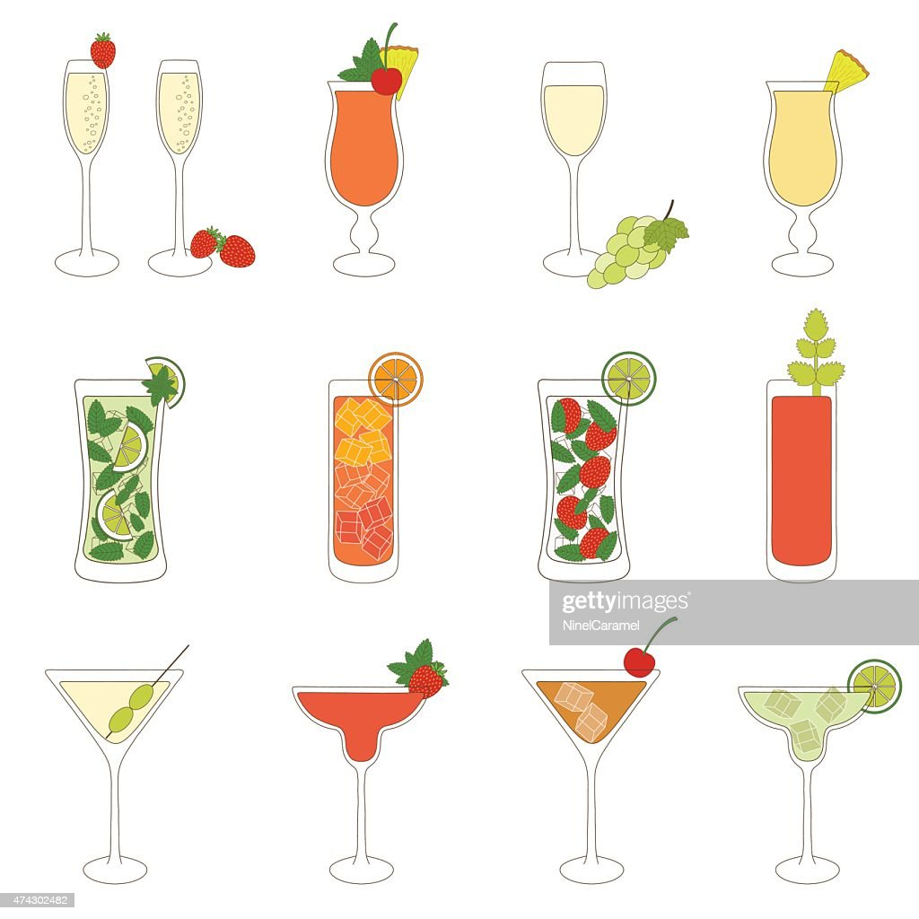 Set of Cocktails and Alcohol Drinks
