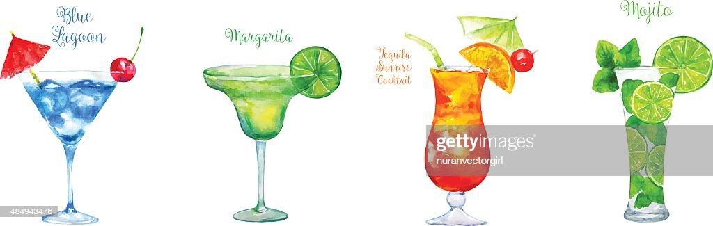 Set of  Cocktails: Blue Lagoon, Margarita ,Tequila Sunrise, Mojito