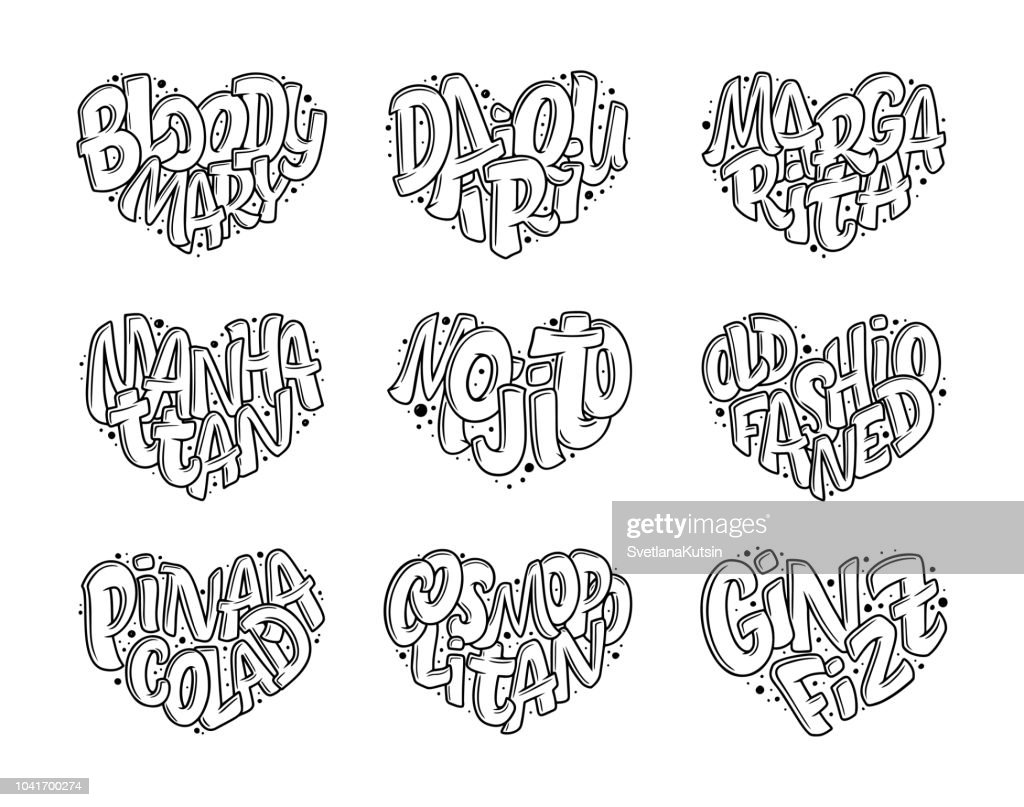 Set of cocktails names, lettering in heart - Gin Fizz, Cosmopolitan, Pina Colada, Old Fashioned, Mojito, Manhattan, Margarita, Daiquiri, Bloody Mary. Hand drawn illustration in bubble style.