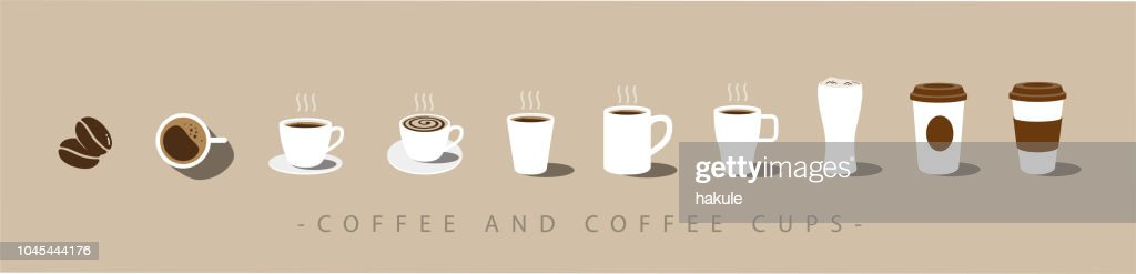 Set of Coffee and coffee cup icons. vector : stock illustration
