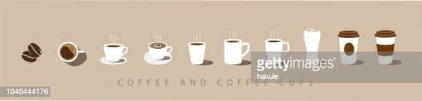 set of coffee and coffee cup icons. vector - coffee drink stock illustrations