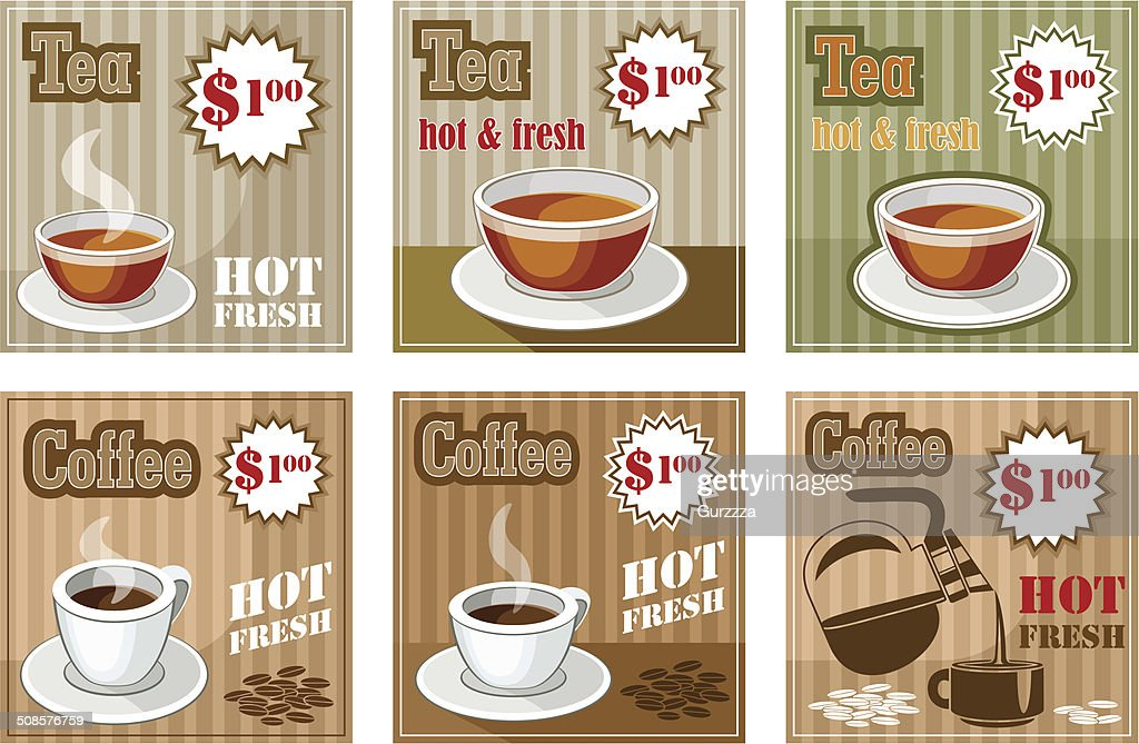 Set of coffee and tea menu card : Vector Art